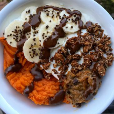 Cookie Dough Sweet Potato Bowl With Dark Chocolate Covered Salba