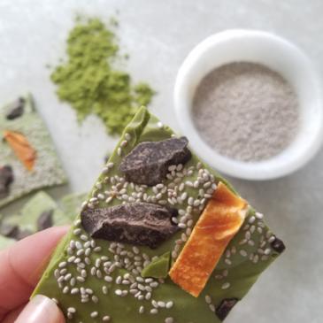Salba Chia Matcha Chocolate Bark