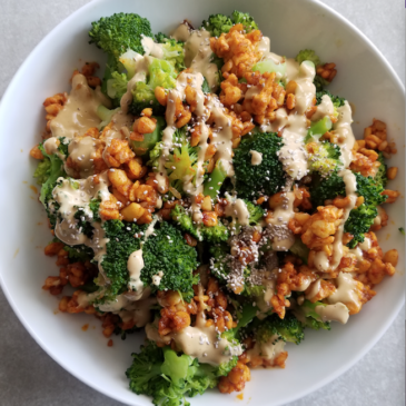 Vegan Broccoli and Tempeh Caesar
