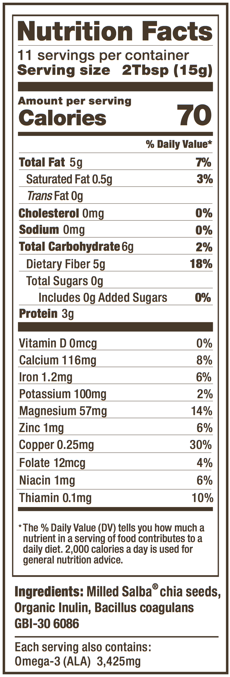 Salba Chia Probiotic Nutrition panel
